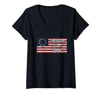 American Vintage Womens 13 Colonies Betsy Ross First us Flag USA V-Neck T-Shirt