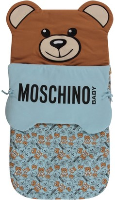 Moschino Light Blue Sleeping Bag With Black Logo For Baby Boy