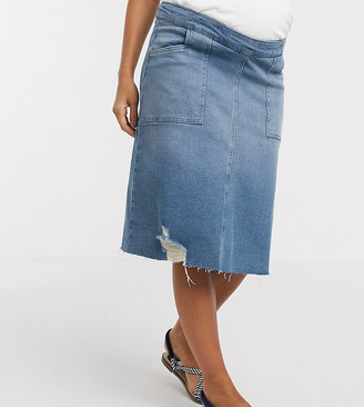 GeBe Maternity over-the-bump midi denim skirt in midwash blue