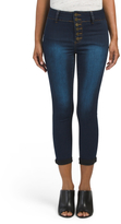 Juniors Exposed Button Crop Jeans