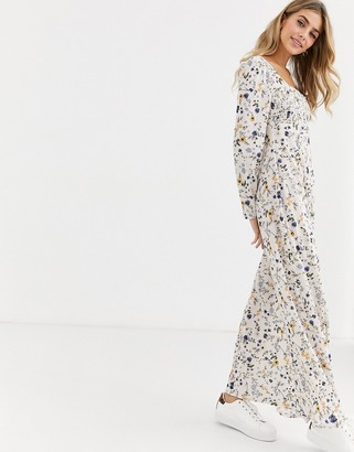 Asos DESIGN long sleeve square neck shirred maxi dress in floral print