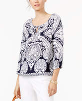 INC International Concepts Petite Printed Tie-Front Blouse, Created for Macy's