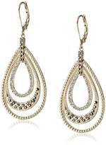 "Judith Jack en Class"" Sterling Silver and -Tone Crystal Marcasite Tear-Drop Earrings"