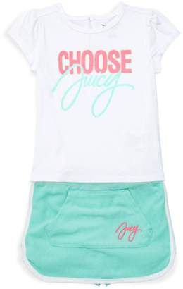 Juicy Couture Little Girl's 2-Piece Graphic Tee & Cotton Blend Skirt Set