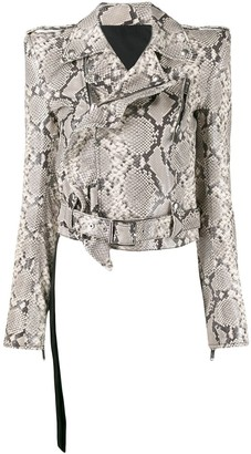 Unravel Project Snake Print Biker Jacket