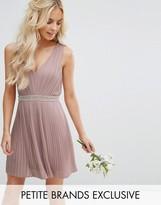 Tfnc Petite Wedding Embellished Open Back Mini Prom Skater Dress