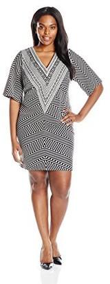 Robbie Bee Women's Plus Size 1 Pc V-Neck 3/4 Sleeve Dress
