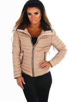 Pink Boutique Sweet Chic Beige Quilted Puffer Coat