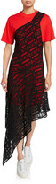McQ Giri Lace Overlay Asymmetric Tee Dress