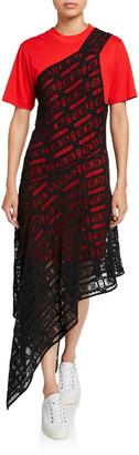 McQ Swallow Giri Lace Overlay Asymmetric Tee Dress