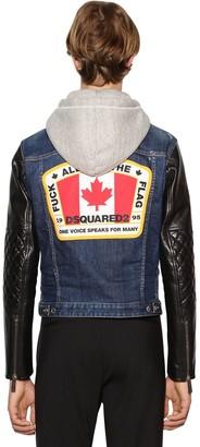 DSQUARED2 Hooded Denim & Leather Jacket