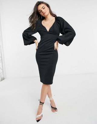 ASOS DESIGN balloon sleeve pencil midi dress in black