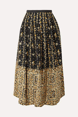 Ulla Johnson Aisha Embellished Embroidered Linen And Cotton-blend Midi Skirt - Black