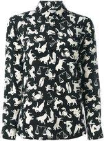 Saint Laurent 'Paris' horoscope print shirt - women - Silk - 40