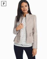 White House Black Market Petite Leather Flounce Jacket