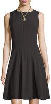 Chetta B Zip-Front Sleeveless Fit-&-Flare Dress, Black