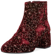 Ash Diamond Bis Embroidered Velvet Boot, Dark Red