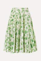 Calvin Klein 205w39nyc CALVIN KLEIN 205W39NYC - Pleated Printed Taffeta Skirt - Green