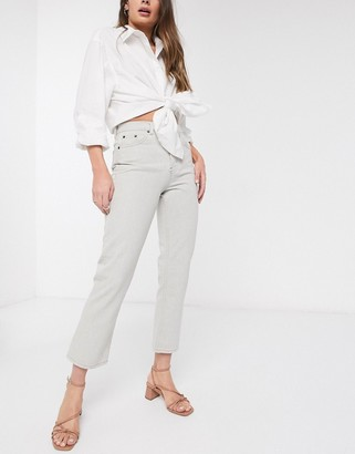 Topshop Editor straight leg jeans in wash beige