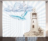 Ambesonne Seagulls Decor Collection, Scrapbook Style Cut and Pasted Nautical Sketches of Seagull Clouds and Lighthouse, Living Room Bedroom Curtain 2 Panels Set, 108 X 90 Inches, Brown Cream Blue