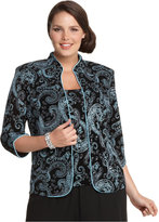 Alex Evenings Plus Size Metallic Paisley Jacket and Shell