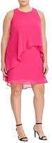 Lauren Ralph Lauren Plus Georgette Asymmetrical Overlay Shift Dress