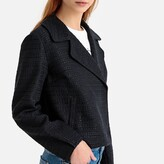La Redoute Collections Cropped Biker Jacket in Tweed Effect with Pockets