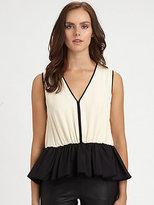 Halston Colorblock Peplum Top