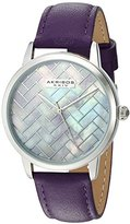 Akribos XXIV Women's Silver-Tone Mother-of-Pearl Mosaic Dial with Purple Glove Style Genuine Leather Strap Watch AK906PU