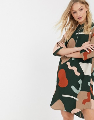 Monki Molly shirt dress in multi