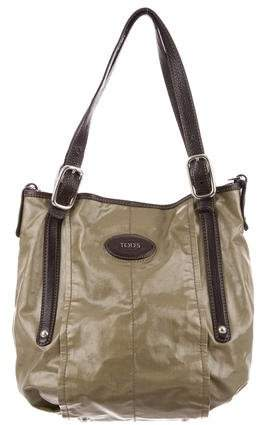 Tod's Leather-Trimmed Coated Canvas Satchel