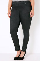 Yours Clothing Black Glitter Jeggings With Elasticated Waistband