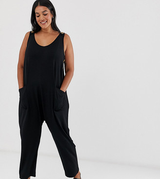 Asos DESIGN Curve minimal jumpsuit with pockets and side button detail-Black