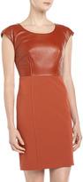 Rachel Zoe Cap-Sleeve Combo Sheath Dress, Rust
