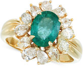 RARE Featuring GEMFIELDS Certified Emerald (3/4 ct. t.w.) and Diamond (1-1/8 ct. t.w.) Ring in 14k Gold