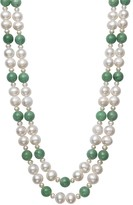 Unbranded Sterling Silver Freshwater Pearl & Jade Double Strand Necklace