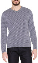 Giorgio Armani Wave-Print Long-Sleeve Tee, Blue/White