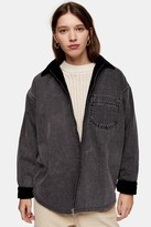 Topshop CONSIDERED Washed Black Denim And Corduroy Reversible Jacket With Recycled Cotton