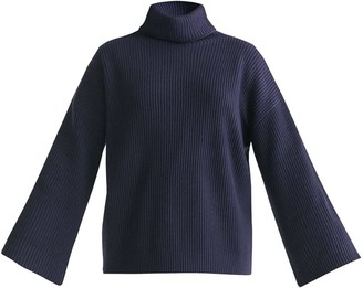 Paisie Roll Neck Oversized Jumper With Wide Sleeves In Navy