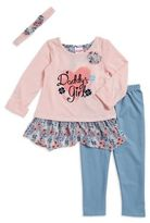 Nannette Little Girl's Text Graphic Knit, Leggings and Headband Set