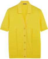 Bottega Veneta Pointelle-knit Ribbed Cotton-blend Top - Yellow