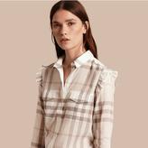 Burberry Frill Detail Check Cotton Shirt