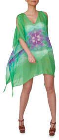 Aya Silk Emerald Silk Printed Tunic