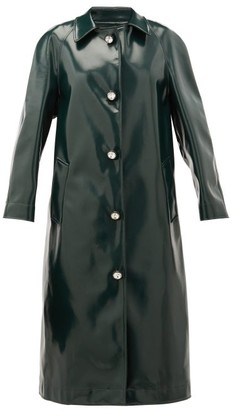 Christopher Kane Coated Jersey Crystal Embellished Coat - Womens - Dark Green