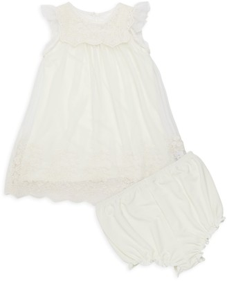 Laura Ashley Baby Girl's 2-Piece Lace-Trim Dress & Bloomers Set