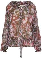 Haute Hippie Ruffle-Trimmed Floral-Print Crepe De Chine Blouse