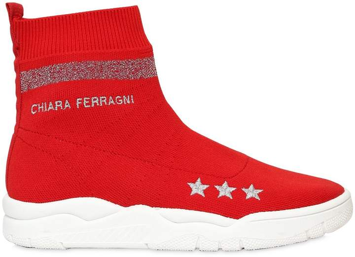 Chiara Ferragni 30mm Logo Stretch Knit Sock Sneakers