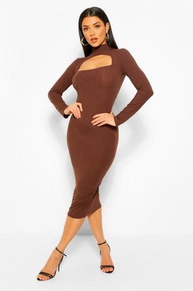 boohoo Rib Cut Out Long Sleeve Midi Dress