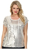 MICHAEL Michael Kors Size Stripe Mix Sequin Top