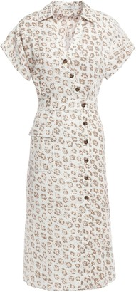 Joie Button-detailed Leopard-print Linen-canvas Midi Shirt Dress